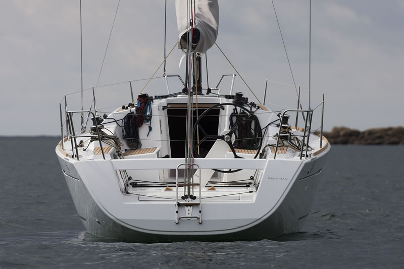View from the stern of sailing yacht First 35
