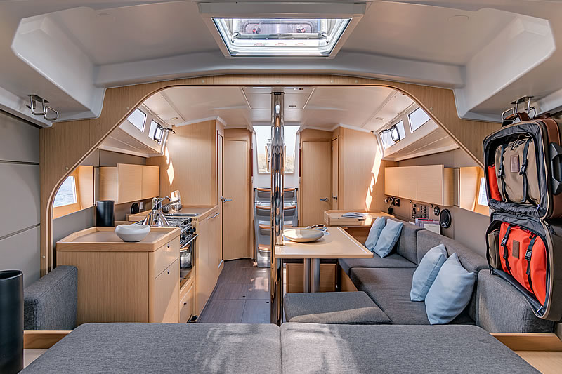 View from the bow cabin to the saloon of sailing yacht Oceanis 38
