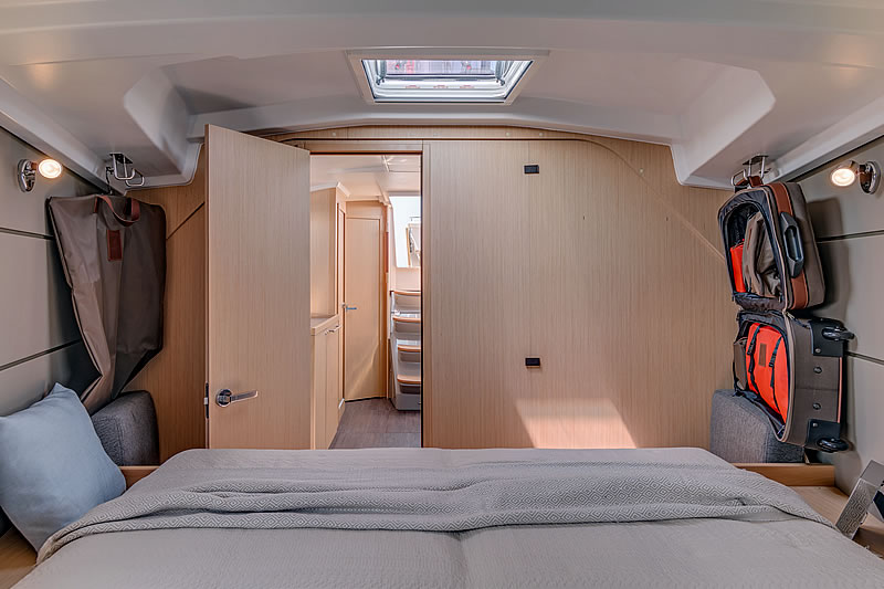Bow cabin of sailing yacht Oceanis 38
