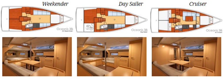 Interior layout options for sailing yacht Oceanis 38