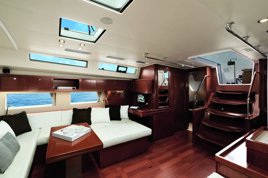 Ladder to enter the salon of sailing yacht Oceanis 55