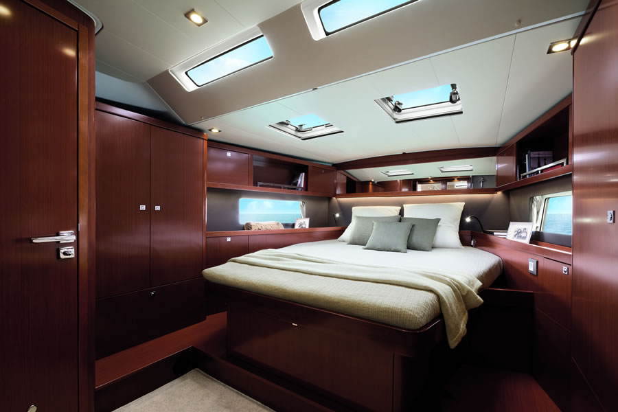 Forward cabin of owner of sailing yacht Oceanis 55