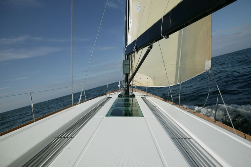 Deck and mast of sailing yacht First 50