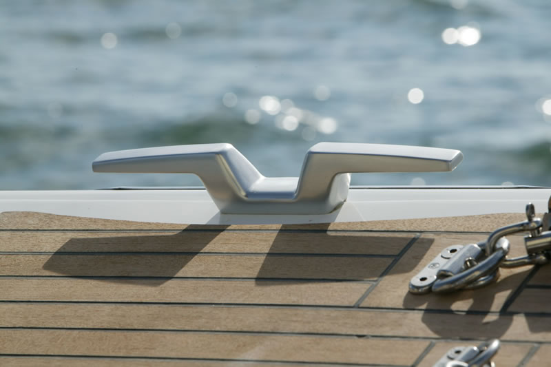 Mooring cleat on sailing yacht First 50