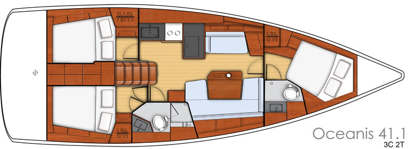 Interior layout Oceanis 41.1 - 2 cabins, 2 toilets