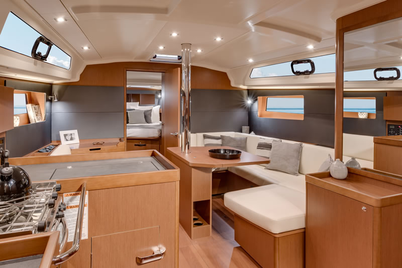 L-shaped galley on sailing yacht Oceanis 41.1