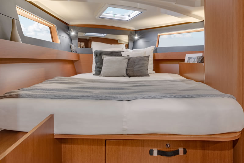 Forward cabin of the owner of sailing yacht Oceanis 41.1